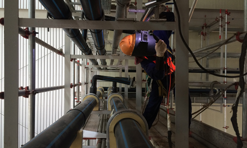 Welding HDPE Pipe on piping bridge IML